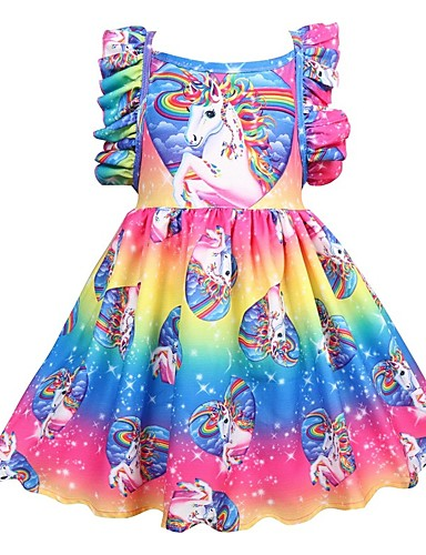 cheap Kids' Fashion-Kids Girls' Active Holiday Unicorn Patchwork Pleated Sleeveless Knee-length Dress Rainbow