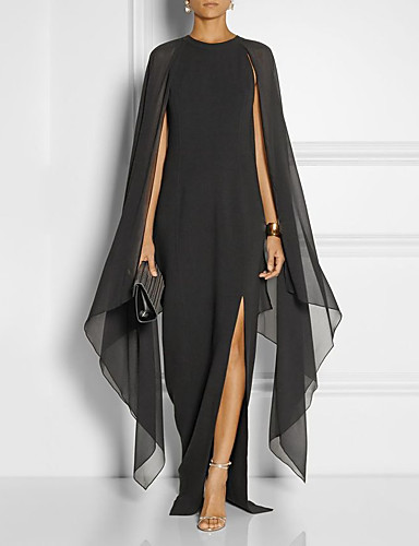 cheap Special Occasion Dresses-Sheath / Column Elegant Black Wedding Guest Formal Evening Dress Jewel Neck Sleeveless Floor Length Chiffon with Draping Split Front 2020