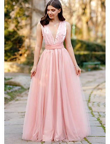 levne Maxi šaty-Dámské Párty Elegantní Pouzdro Šaty Volná záda Mašle Síťka Maxi Hluboké V Dusty Rose / Sexy