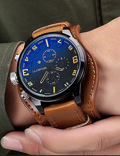 cheap Leather band Watches-Men's Sport Watch Fashion Watch Dress Watch Quartz Japanese Quartz Genuine Leather Black / Brown 30 m Water Resistant / Waterproof Calendar / date / day Cool Analog Charm Luxury Classic Vintage Casual