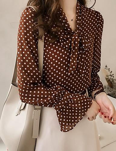 billige Skjorter til damer-V-hals Store størrelser Skjorte Dame - Polkadotter / Geometrisk Grunnleggende Brun