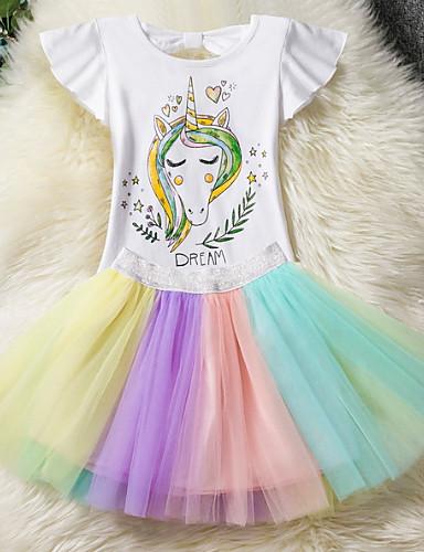 preiswerte Unicorn Dresses-Kinder Mädchen Street Schick Alltag Unicorn Einfarbig Gitter Kurzarm Kleidungs Set Regenbogen