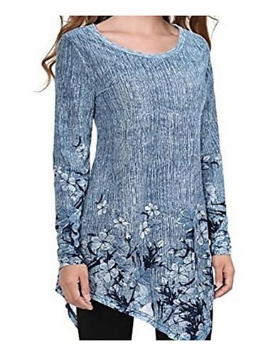 billige Dametopper-Bomull Store størrelser T-skjorte Dame - Ensfarget, Utskjæring Grunnleggende Lilla