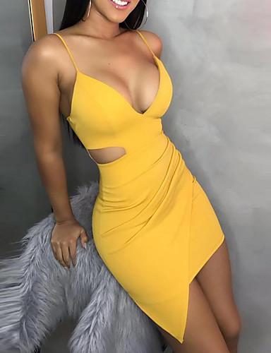 preiswerte Ingwer Kollektion-Damen Grundlegend Bodycon Hülle Kleid Solide Mini