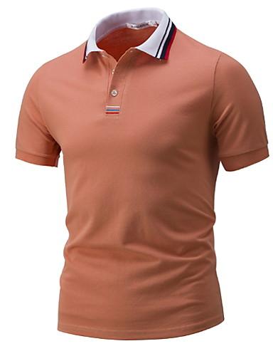 voordelige Herenpolo's-Heren Polo Effen Overhemdkraag Marineblauw