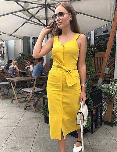 preiswerte Sommerkleider-Damen Elegant Etuikleid Kleid - Patchwork, Solide Midi