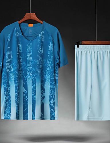preiswerte Fußball-Hemden und Shorts-Herrn Fußball Fußballtrikot und Shorts Sportkleidung Atmungsaktiv Schweißableitend Teamsport Aktives Training American Football Streifen Polyester Erwachsene Blasses Blau