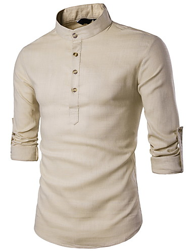 cheap Henley Shirts-Men's Shirt Solid Colored Long Sleeve Tops Linen Standing Collar White Black Red