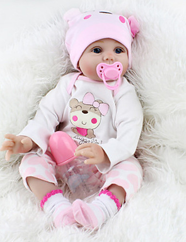 cheap Kids' Dolls, Playsets & Stuffed Animals-NPKCOLLECTION NPK DOLL Reborn Doll Girl Doll Baby Girl Reborn Baby Doll 22 inch Silicone - Newborn lifelike Cute Lovely Parent-Child Interaction Hand Rooted Mohair Kid's Toy Gift / Floppy Head