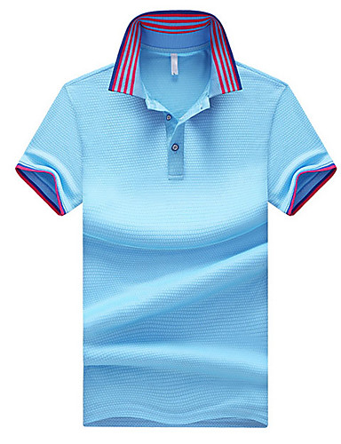 levne Pánská polo trika-Pánské - Proužky Polo Košilový límec Černá