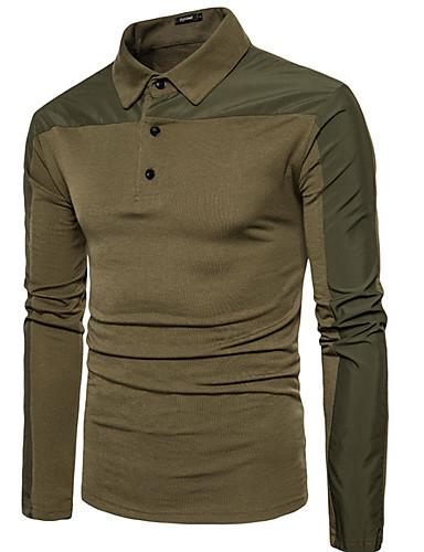 levne Pánská polo trika-Pánské - Jednobarevné Polo Bavlna Košilový límec Černá