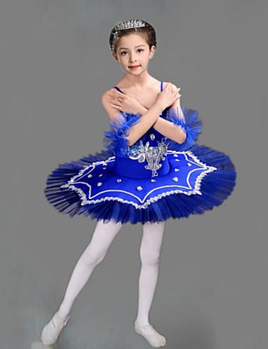 levne Shall We®-Dětské taneční kostýmy / Balet Úbory / tutu a sukně Dívčí Trénink / Výkon Polyester / Síťka Výšivka / Rozdělení / Křišťály / Bižuterie Bez rukávů Šaty / Náramky