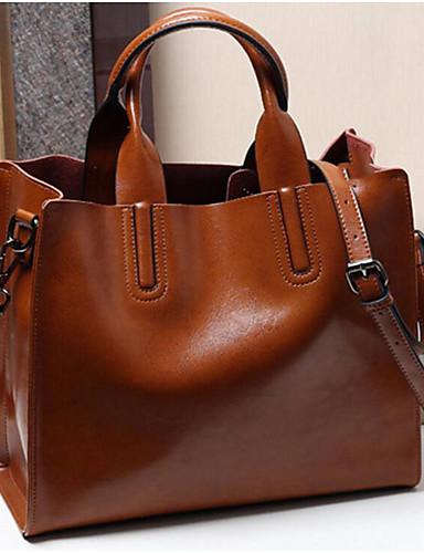 preiswerte Elegante Damen-Handtaschen-Damen Reißverschluss Rindsleder Tragetasche Rosa / Braun / Wein