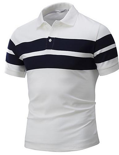 levne Pánská polo trika-Pánské - Barevné bloky Polo Košilový límec Bílá / Krátký rukáv / Léto