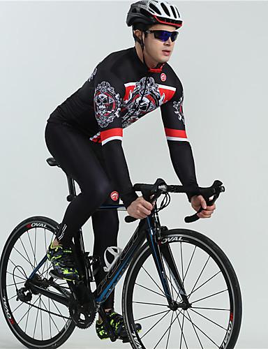 cheap Cycling-BOESTALK Men's Long Sleeve Cycling Jersey with Bib Tights Winter Fleece White Black Skull Bone Bike Fleece Lining Quick Dry Breathable Back Pocket Sports Patterned Mountain Bike MTB Road Bike Cycling