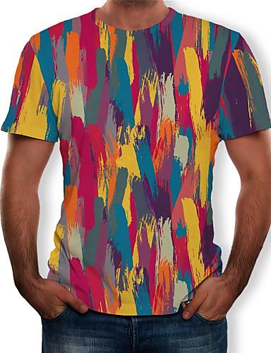 voordelige Herenbovenkleding-Heren Print T-shirt 3D / Regenboog / Grafisch Geel