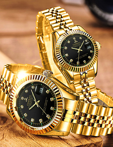 cheap Couple Watches-Couple's Dress Watch Quartz Matching His And Her Stainless Steel Gold 30 m Water Resistant / Waterproof Calendar / date / day Analog Luxury Fashion - White Black Blue