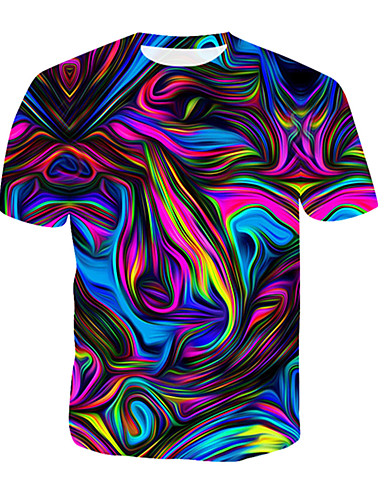 cheap Men's Tees & Tank Tops-Men's T-shirt Abstract Graphic Print Short Sleeve Tops Round Neck Blue Red Gold / Summer