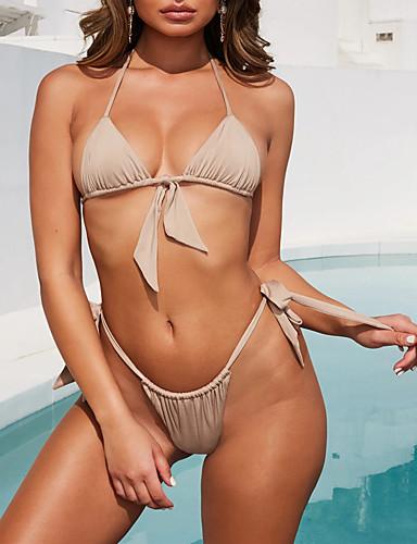 billige Bikinier og damemote-Dame Sporty Grunnleggende Oransje Beige Lilla Grime Cheeky Bikini Badetøy - Ensfarget Åpen rygg Blondér S M L Oransje