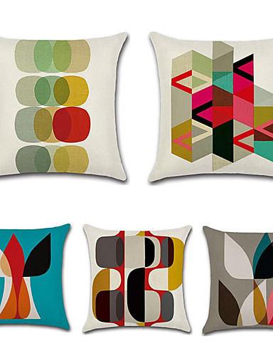 cheap Cushion Covers-Set of 5 Cotton / Linen Pillow Case, Polka Dot Damask Geometic Artistic Style Abstract Throw Pillow
