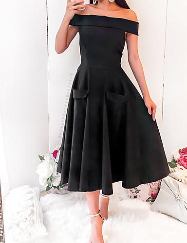 Damen Elegant A-Linie Kleid Solide Midi Schulterfrei ...