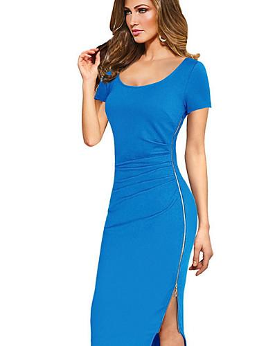 levne Pracovní šaty-dámské midi bodycon šaty světle modré černé zelené s m l xl