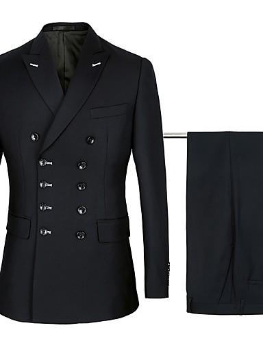 voordelige Bruidegom & Bruidsjonkers-Navy / Zwart Effen Standaard pasvorm Katoen / Polyster Pak - Punt Dubbele knoopssluiting zes knopen / Suits