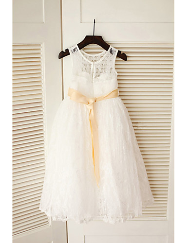 4ee6cb166fa A-Line Ankle Length Flower Girl Dress - Lace   Satin   Tulle Sleeveless  Jewel Neck with Belt by LAN TING Express 7147333 2019 –  47.49