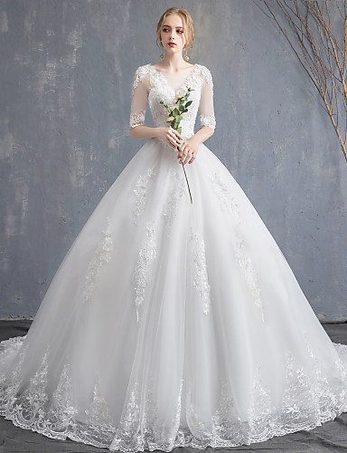 cheap Wedding Dresses-Ball Gown Scoop Neck Chapel Train Lace / Tulle / Sequined Half Sleeve Glamorous See-Through / Illusion Sleeve Wedding Dresses with Lace / Appliques 2020