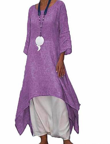 levne Maxi šaty-Dámské Volné Swing Košile Šaty Midi