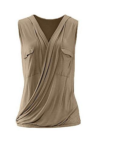 billige Dametopper-Tynn V-hals Store størrelser Skjorte Dame - Ensfarget Fuksia