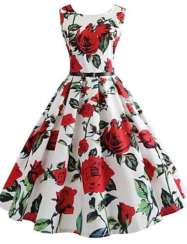 preiswerte Kentucky Derby 2020-Damen Elegant A-Linie Kleid - Druck, Blumen Knielang