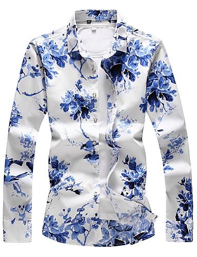 preiswerte Männermode-Herrn Blumen Übergrössen Baumwolle Hemd Blau