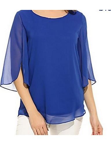 billige Dametopper-Tynn Store størrelser Skjorte Dame - Ensfarget Svart