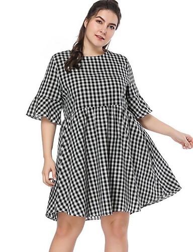 voordelige Grote maten jurken-Dames A-lijn Jurk - Blokken Boven de knie