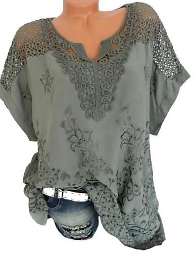 billige Dametopper-V-hals Store størrelser T-skjorte Dame - Ensfarget, Blonde Svart