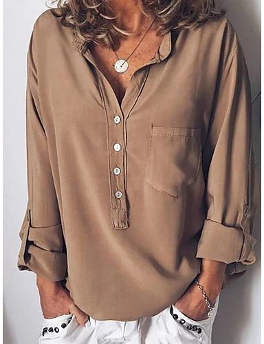 billige Skjorter til damer-V-hals Skjorte Dame - Ensfarget Rød