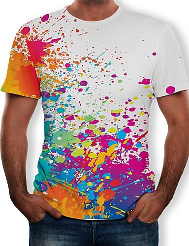 voordelige Herenbovenkleding-Heren Print T-shirt Geometrisch / 3D / Regenboog Wit