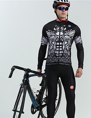 cheap Cycling-BOESTALK Men's Long Sleeve Cycling Jersey with Bib Tights Winter Fleece Black Skull Floral Botanical Bike Thermal Warm Fleece Lining Breathable Back Pocket Sports Skull Mountain Bike MTB Road Bike
