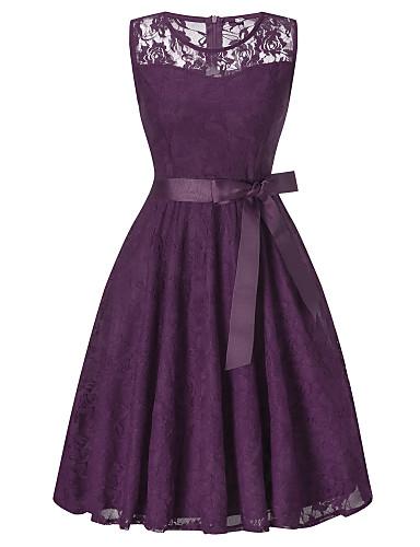 preiswerte Kleider für besondere Anlässe-A-Linie Schmuck Knie-Länge Spitze Kleid mit Schärpe / Band durch LAN TING Express
