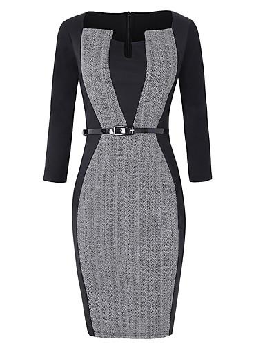 levne Pracovní šaty-Dámské Štíhlý Bodycon Šaty Formální styl Délka ke kolenům Do V
