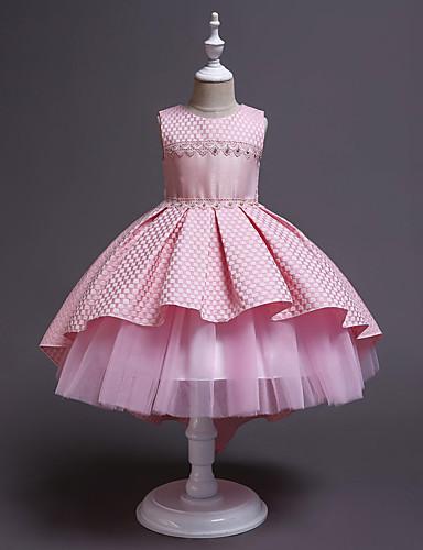 preiswerte Baby & niños-Kinder Mädchen Aktiv nette Art Solide Ärmellos Asymmetrisch Kleid Weiß / Baumwolle