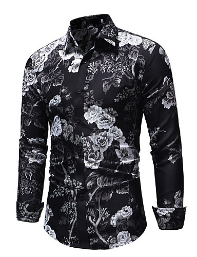 cheap 11.11 - Print Men's Shirts Best Sale-Men's EU / US Size Slim Shirt - Floral Black / Long Sleeve