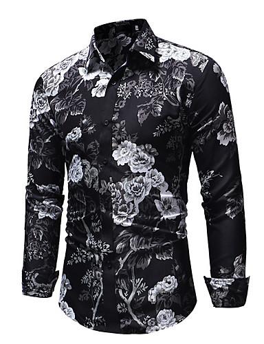 billige Herreskjorter-Tynn EU / USA størrelse Skjorte Herre - Blomstret Svart / Langermet