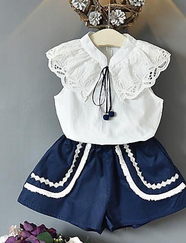 preiswerte Baby & niños-Kinder Mädchen Street Schick Solide Ärmellos Standard Kleidungs Set Blau