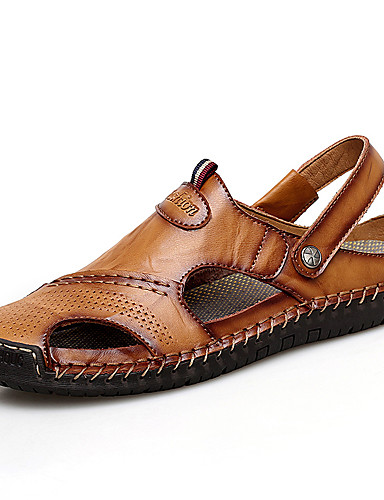 cheap Men's Shoes Hot Sale-Men's Comfort Shoes Summer Casual Daily Outdoor Sandals Upstream Shoes Cowhide Breathable Waterproof Non-slipping Light Brown / Dark Brown / Black