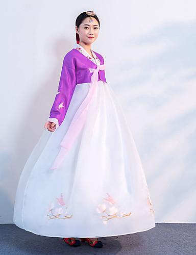 povoljno Maske i kostimi-Djevojka Hanbok Odrasli Žene Azijski Tradicionalni korejski Jeogori Hanbok Magoja Za Seksi blagdanski kostimi Zaručnička zabava Djevojačka večer Pamuk Dugi Duljina Suknja