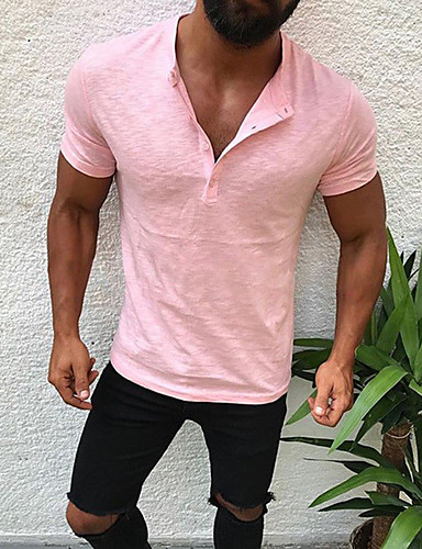 cheap Henley Shirts-Men's T-shirt Graphic Solid Colored Slim Tops Cotton V Neck White Black Blushing Pink