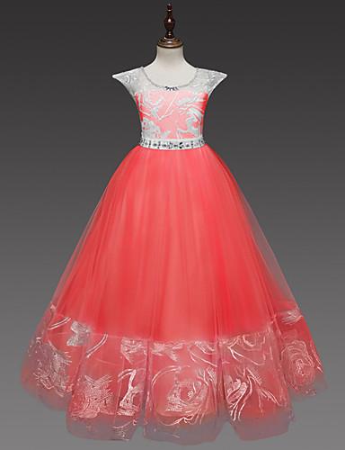 levne Krásné šaty-Princess Long Length Šaty pro květinovou družičku - Krajka / Tyl Pásky Klenot s Křišťály / Pásek / Křišťály / Bižuterie podle LAN TING Express