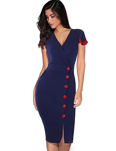levne Pracovní šaty-Dámské Elegantní Štíhlý Pouzdro Šaty - Jednobarevné, Rozparek Délka ke kolenům Hluboké V